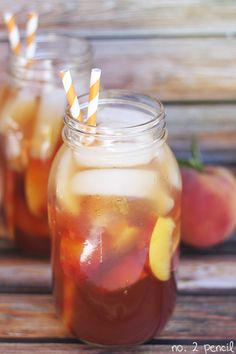 Peach Iced Tea Recipe - Serves: 8 - 12 regular sized tea bags, Fresh, filtered water, 1 cup of sugar, ¼ teaspoon of baking soda, 1 11.5 oz can of peach nectar – found in juice aisle, 1 lemon, 4 fresh peaches,