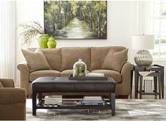 Off-white walls, green beige sofa, and dark wood side tables. New Furniture, Living Room Furniture, Furniture Shopping, Havertys Sofas, Beige Couch, Georgia Homes, Ottoman Table, Condo Living, Living Rooms
