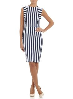 Adam & Eve Raegen pencil dress with stripes Blue/White Fashion 2020, Fashion Online, Dresses For Work, Prom Dresses, Professional Wear, Fresh Outfits, Plaid Design, Pencil Dress, Blue Stripes