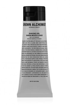 Grown Alchemist Sandalwood and Sage Shaving Gel, $49; grownalchemist.com Oils are a great alternative to creams for shaving, but if you're prone to nicks and cuts and prefer a bit more substance, this is the solution for you. It's crafted with botanicals that each serve a separate purpose: Sandalwood and coriander help fight inflammation and soothe the skin, while sage and willow help keep pores clear (read: no ingrowns).