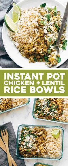 Cilantro Lime Chicken and Lentil Rice Bowls – Pinch of Yum Instant Pot Cilantro Lime Chicken and Lentils! The BEST easy protein powerhouse meal prep. Just 15 mins of prep and totally hands-off cooking! Chicken Meal Prep, Easy Chicken Recipes, Steak Recipes, Easy Recipes, Lentils Instant Pot, Pressure Cooker Recipes, Slow Cooker, Chicken Lentil, Recipe With Lentils And Chicken
