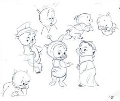 Porky Pig model sheet, graphite on 12 field animation paper