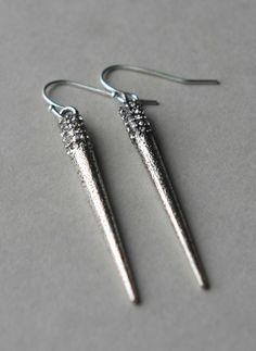 Spike Earrings, Metal Spike Earrings, Long Spike Earrings, Silver Spike Jewelry, Dangle Earrings, Metallic Jewelry by juliegarland on Etsy https://www.etsy.com/listing/213064810/spike-earrings-metal-spike-earrings-long