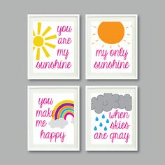 You Are My Sunshine Set of Four Prints for by GatheredNestDesigns