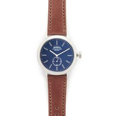 Shinola The Bedrock 42mm Watch (32.160 RUB) ❤ liked on Polyvore featuring men's fashion, men's jewelry, men's watches, mens water resistant watches, mens chronograph watches, men's blue dial watches and mens leather band watches