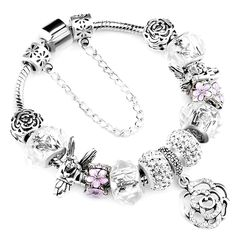 DARLING HER Charm Bracelets /& Bangles Women Jewelry Minnie Pink Bow-Knot Pendant Bracelet DIY Handmade for Girl Gift Silver Plated 18cm
