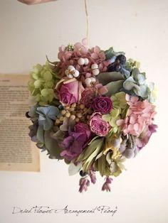 ボールリースNO,5 - ドライフラワーリース&アレンジ   Dried Flower Arrangement ''Peony'' ピオニー