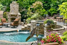 Living Area on the Deck / Patio / Porch - Stairs - Waterfall / Fountain / Water Feature - Pool / Yard Swimming Pools Backyard, Pool Landscaping, Outdoor Spaces, Outdoor Living, Outdoor Decor, Pool Contractors, Waterfall Fountain, Custom Pools, Pool Builders
