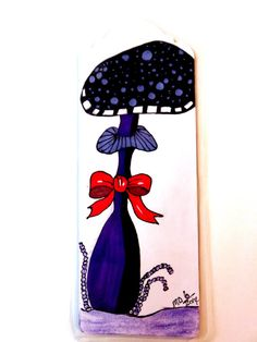 Mushroom bookmark purple mushroom bookmark by MitchiesGalleria