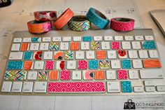 Scotch Expressions Tape - keyboard makeover to brighten my little office space. Washi tape