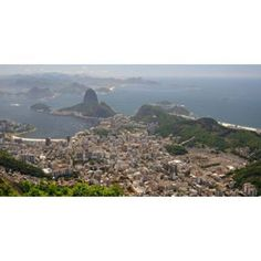 Elevated view of Botafogo neighborhood and Sugarloaf Mountain from Corcovado Rio De Janeiro Brazil Canvas Art - Panoramic Images (36 x 19)