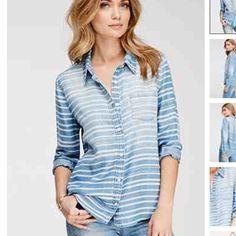 Brand new denim button down shirt Stripped button down denim shirt brand  new never worn Forever 2b1f03f5767