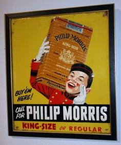 "PHILLIP MORRIS CIGARETTE TIN SIGN : Lot 178    Embossed litho tin; framed; minor rust, spots and wear; 14"" x 12"", G-VG"
