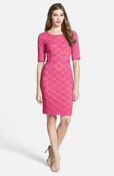Maggy London 'Star Flower' Elbow Sleeve Stretch Lace Sheath Dress. available at #Nordstrom