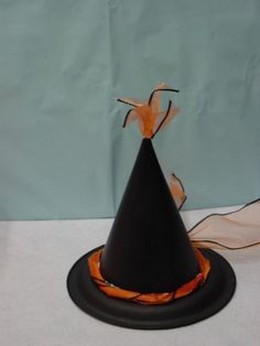 Witch hat decoration made from a paper plate and a paper birthday hat