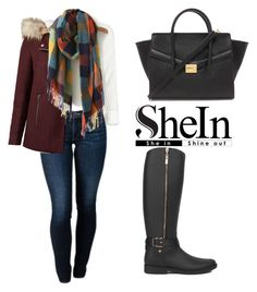 """""""SHEINSIDE Plaid Scarf"""" by tania-alves ❤ liked on Polyvore featuring THVM, Akira, Forever 21, women's clothing, women's fashion, women, female, woman, misses and juniors"""