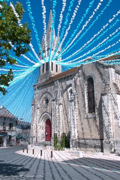 The church at Verteillac, France decorated for Felibree 2014.