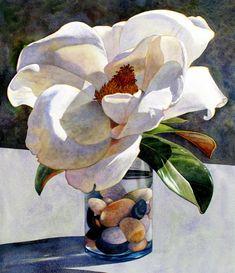 Magnolia, Claire Schroeven Verbiest, Watercolor.