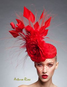 Red couture Fascinator Cocktail hat Melbourne cup by ArturoRios