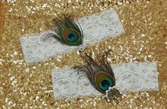 Ivory OR White Bridal Garter 2 pc set Peacock by DESIGNERSHINDIGS