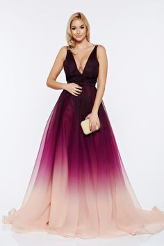 """Ana Radu long purple evening dress with v-neckline, bow shaped accessory, accessorized with tied waistband, back zipper fastening, bare back, """"V"""" cleavage, inside lining"""