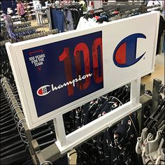 Champion Large Saddle-Mount Branding Sign Champion Sportswear, Team Theme, Retail Fixtures, Branding, Signs, Zapatos, Shop Signs, Sign, Brand Identity