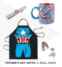 Dad's your superhero. Celebrate his awesomeness this Father's Day with Marvel's Captain America gear. Featured product: Marvel Captain America shield tie bar, 75th anniversary shield coffee mug, apron and action cuff links. Shop for Father's Day at Kohl's.