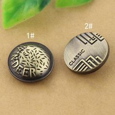 6 pcs 0.75 inch Bronze Letters Snap Fastener Copper Metal Shank Buttons for Jeans Jackets Coats