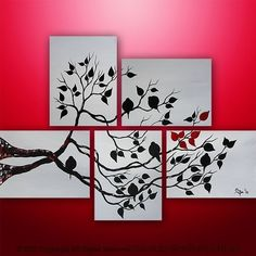 Abstract Painting Modern Acrylic Landscape Painting Original Painting Asian Tree Painting Art by Gabriela black, white red Art Diy, Diy Wall Art, Diy Canvas, Canvas Art, Canvas Paintings, Painting & Drawing, Painting Abstract, Custom Paint, Painting Inspiration