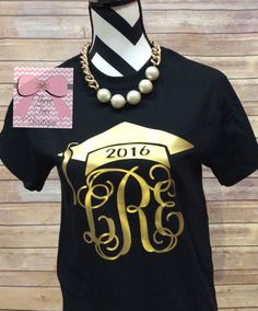 Monogram Class of 2016 or 2017 T-Shirt by ThreeTeesBoutique