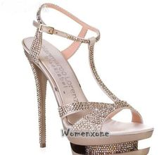What needs most of all a bride? Drop-dead gorgeous, absolutely stunning bridal shoes of course ! is here for you and helps you to find your dream pair of bridal shoes… Rhinestone Sandals, Embellished Sandals, Gold Rhinestone, Rhinestones, Best Bridal Shoes, Wedding Shoes, Dream Wedding, Wedding Dresses, Diamond Shoes