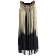 Chicwish Swinging Ombre Tassel Dress in Gold ($62) ❤ liked on Polyvore featuring dresses, vestidos, tops, short dresses, yellow, mini dress, black party dresses, short black dresses, black cocktail dresses and short yellow dress