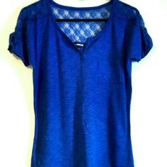Blue Top Blue Top With Lace Detail Along Shoulders - Front Pocket - Never Worn  NO TRADES - NO PAYPAL Express Tops Tees - Short Sleeve