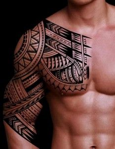 tribal tattoos for men half sleeve1 233x300 New Art Designs of Tribal Sleeve Tattoos 2014