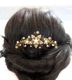 would probably use on the side, not on the back. Antique brass hair comb Bridal hair comb Wedding by treasures570, $75.00