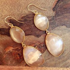 -Day to Night Earrings!- Faceted Peach Moonstone Set in Gold Plate. Gold-Fill Earwires & Findings. $150 www.meredithjackson.com