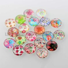 10pcs Animal Skin Printed DIY Glass Cabochons Half Round//Dome Mixed Color 20x6mm