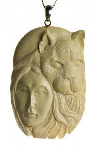 Cougar Spirit Totem Pendant carved in Fossil Mammoth Ivory | Whisperingtree.net