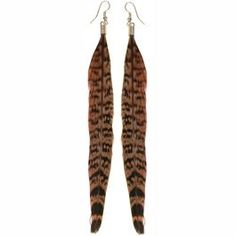 "5 3/4"" Feather Earrings in Brown with Silver Finish."
