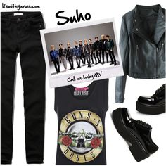 Suho from EXO K Call me baby MV inspired by look Exo K, Suho, Call Me, Abercrombie Fitch, Steve Madden, Boohoo, Inspired, Polyvore, Baby