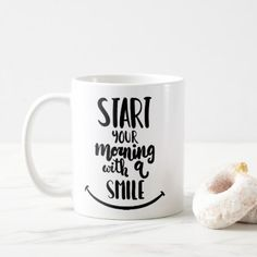 #Start Your Morning With A Smile Coffee Mug - #drinkware #cool #special