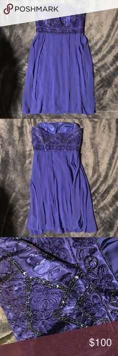 Sue Wong royal blue cocktail dress • worn once, ribboned detailing on skirt, embroidery and beading on bodice, strapless Sue Wong Dresses Mini