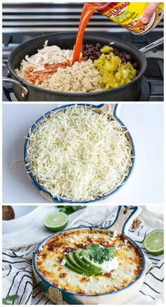 If you've been looking for a way to try quinoa, this cheesy enchilada bake is the perfect place to start—and there's no rolling required! A layer of nutty quinoa (you can use white or red) gets topped with all your fave enchilada fixins: black beans, chicken, green chiles, onions, and of course plenty of cheese. A dollop of sour cream (or plain Greek yogurt), avocado and cilantro puts the finishing touch on this better-for-you Mexican casserole.