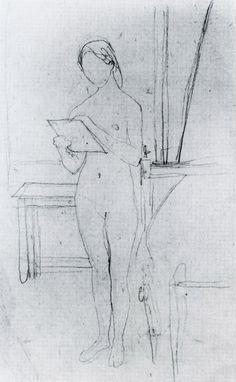 nude self portrait by Gwen John