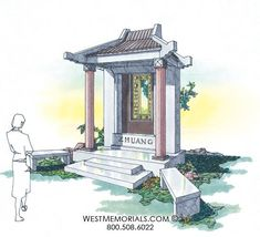Discover our beautiful bird granite mausoleum design featuring a gorgeous floral arrangement and a bronze decorative door. 2017 Design, Beautiful Birds, Granite, Stained Glass, Gazebo, Outdoor Structures, Memories, Statue, Pictures