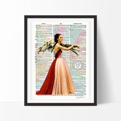 Grace Kelly 1952 -Neo retro, vintage, France, fashion, Hollywood, film, design, print, home decor, dictionary, poster, ancient, elegant-