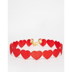 Suzywan St Valentines Red Heart Choker Necklace (145 RON) ❤ liked on Polyvore featuring jewelry, necklaces, red, chain necklaces, choker necklace, chains jewelry, chain choker and red choker