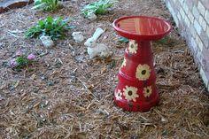 Our Treasured Home: Clay Pot Bird Bath
