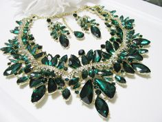 Emerald green Statement Wedding  Necklace Bridal Necklace - Bridal Jewelry - Wedding Necklace - Pageant JewelryBridal Necklace by weddingswithflair on Etsy