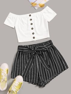 Button Up Bardot Top and Self Belted Striped Shorts Set Source by Outfits shorts Cute Lazy Outfits, Crop Top Outfits, Kids Outfits Girls, Summer Fashion Outfits, Teenager Outfits, Pretty Outfits, Stylish Outfits, Cool Outfits, Preteen Fashion